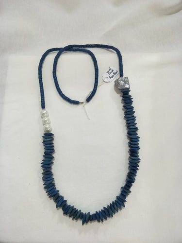 Necklace - blue wood with faux pearl and silver stone focal