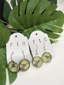 Art Glass Earrings - Tropical Outline Leaf on Pale Background