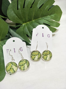 Art Glass Earrings - Tropical Banana Leaf on Pale Background