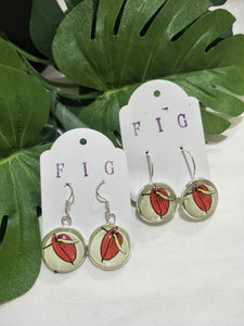 Art Glass Earrings - Tropical Red Flower
