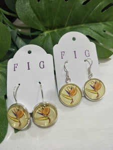 Art Glass Earrings - Tropical Bird of Paradise on Pale Background