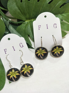Art Glass Earrings - Tropical Palm Tree on Black Background s
