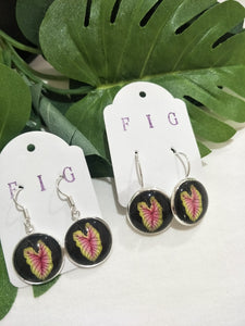 Art Glass Earrings - Tropical Pink Elephant Ear Leaves