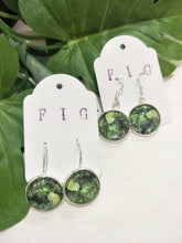 Art Glass Earrings - Tropical Mixed Green Leaves