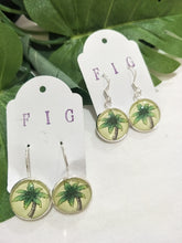 Art Glass Earrings - Tropical Palm Tree on Yellow Background