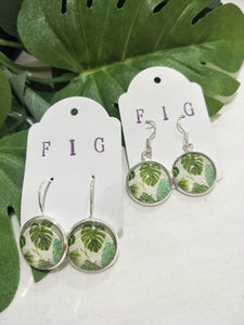 Art Glass Earrings - Tropical Monterio Delicio Leaf on White