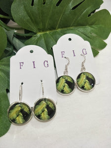 Art Glass Earrings - Tropical Banana Leaf on Black