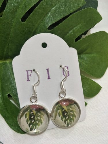 Art Glass Earrings - Tropical Watercolour Leaf