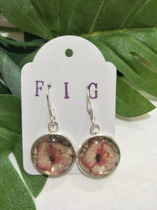 Art Glass Earrings - Tropical Large Pink Watercolour Hibiscus