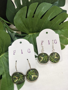 Art Glass Earrings - Tropical Leaf