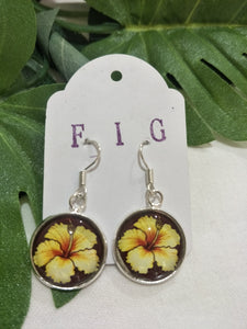 Art Glass Earrings - Tropical Yellow Hibiscus