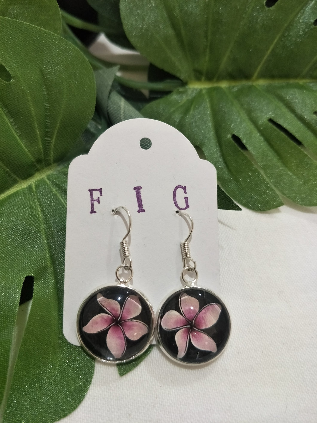 Art Glass Earrings - Tropical Pink Hibiscus