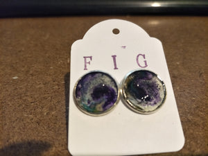 Stud Earrings- Aqua Turquoise Purple Silver  Individual Flow Paint Masterpieces