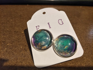 Earrings- Aqua Turquoise Purple Gold Individual Flow Paint Masterpieces