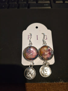 Earrings- Irridescent Pink Blue Magenta and Silver Individual Flow Paint Masterpieces