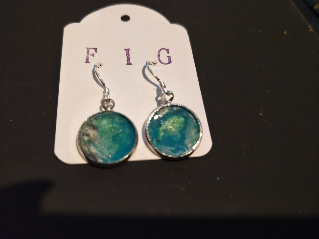 Earrings- Aqua Turquoise White  Silver  Individual Flow Paint Masterpieces