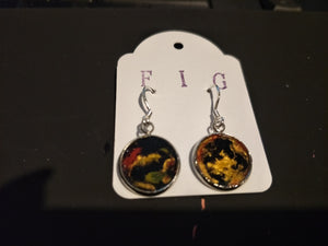 Earrings-  Red, Green, Black and Gold Individual Flow Paint Masterpieces