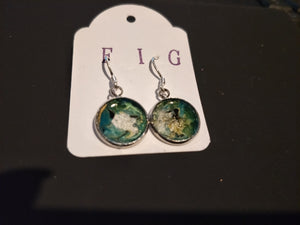 Earrings-  Turquoise, Green, Black and   Silver  Individual Flow Paint Masterpieces