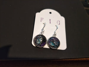 Earrings- Purple Turquoise Black Silver Individual Flow Paint Masterpieces