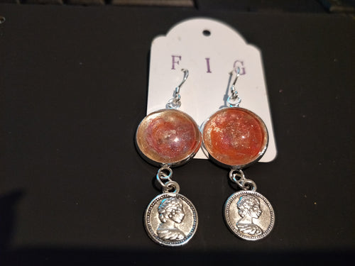 Earrings- Irridescent Coral Orange and Pale Gold Individual Flow Paint Masterpieces