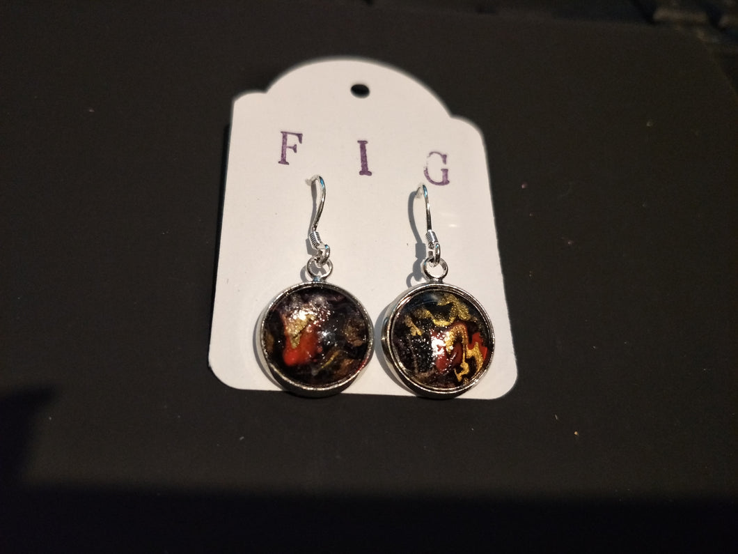 Earrings- Black/Gold/RedIndividual Flow Paint Masterpieces