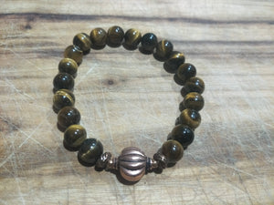BRACELET - Mens Unisex Couples 8mm Golden Tiger Eye Stone with Copper Focal Bead Stretch Elastic