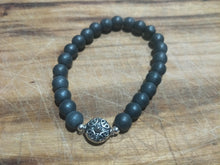 BRACELET - Mens Unisex Couples Family 8mm Matte Grey Hematite Stone with Pewter Focal Bead Stretch Elastic