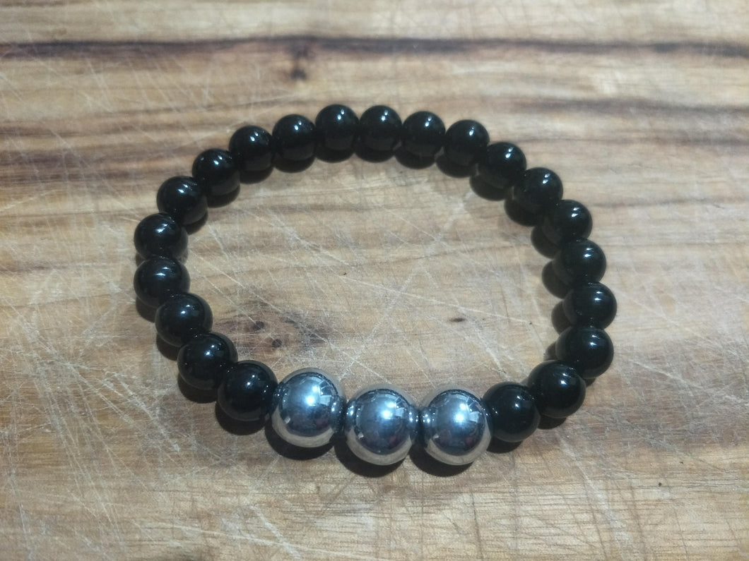 BRACELET - Mens Unisex Couples Black Agate with 3 Hematite Focals Stone Stretch Elastic