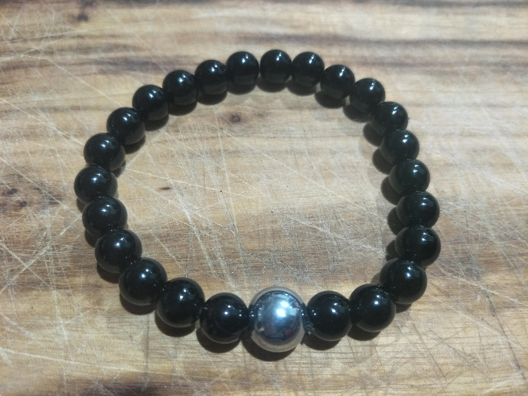 BRACELET - Mens Unisex Couples Family Couples 8mm Black Agate Stone  with one 10mm Hematite Focal Bead Stretch Elastic