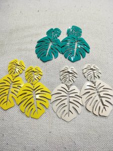 Earrings - metal Tropical Leaf Studs