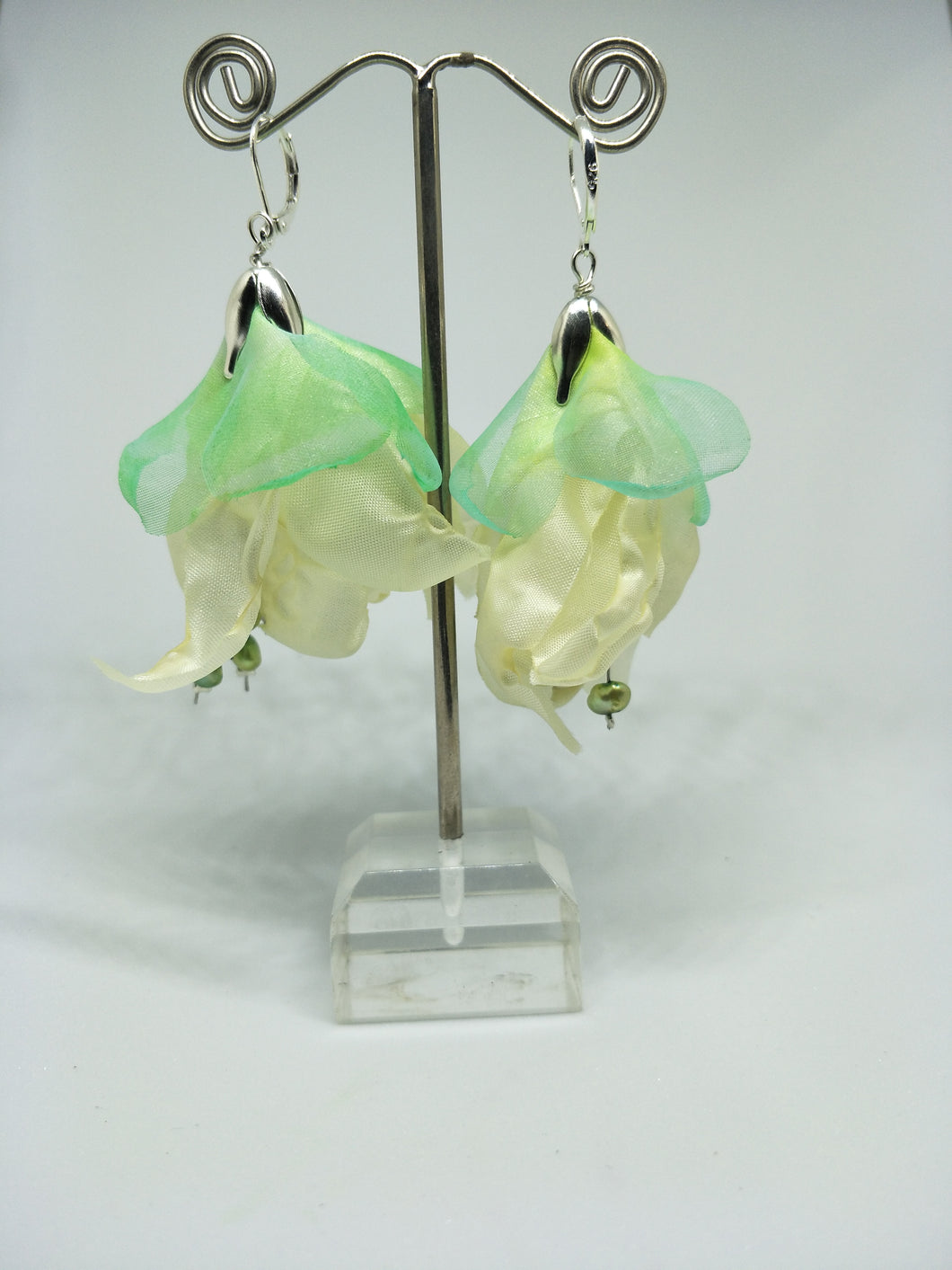 Petals Cream Silky Fabric Flower Silver French Lever Hook Earrings