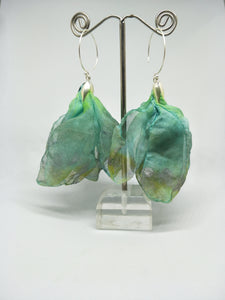 Petals Bronzey Green Blue Fabric Flower large round Silver  Hook Earrings
