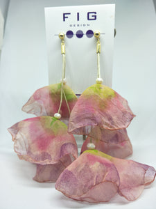 Petals  Purple Pink Green Sheer 3 Fabric Flower Gold Stud Earrings