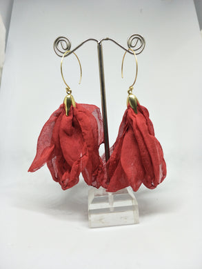 Petals Rosey Red Fabric Flower Gold Hook Earrings