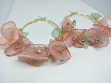 Large Hoop Earrings with Delicate Flowers Petals