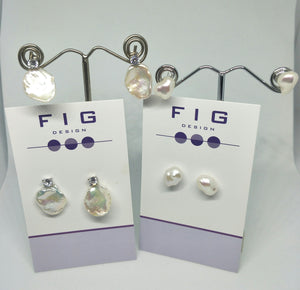 Flat Coin Baroque Pearls Studs