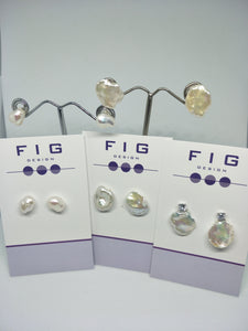 Flat Coin Baroque Pearls with Crystal Studs