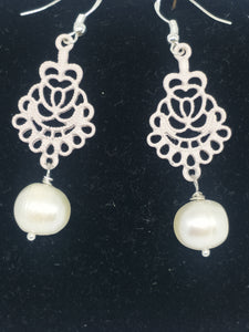 Pearl  Lace Motif Drop Earrings - Pale Pink, pearls