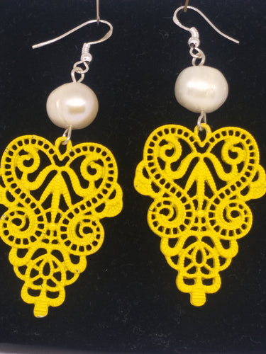 Pearl  Lace Motif Drop Earrings - Bright Yellow, pearls