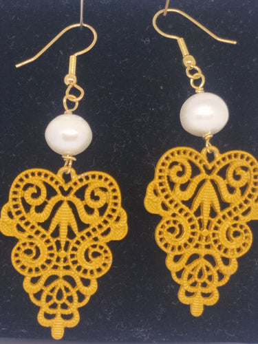 Pearl Mustard Lace Motif Drop Earrings -  pearls
