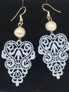 Pearl  Lace Motif Drop Earrings - Pale Baby Blue, pearls
