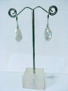 Baroque Keishi Freshwater Pearl  Earrings with Rhodium Plate Hooks