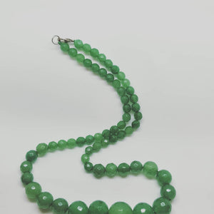 Necklace - Pale Emerald Green Agate graduated Facetted Stone