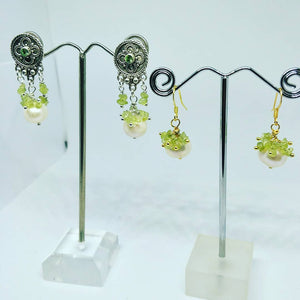 Peridot and Pearl Earrings with Swarowski Crystal Studs