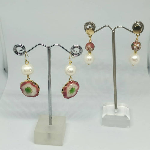Flower Cloisonne Bead and Pearl Earrings