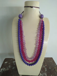 Necklace - Pink Mauve Purple Resin Adjustable Length
