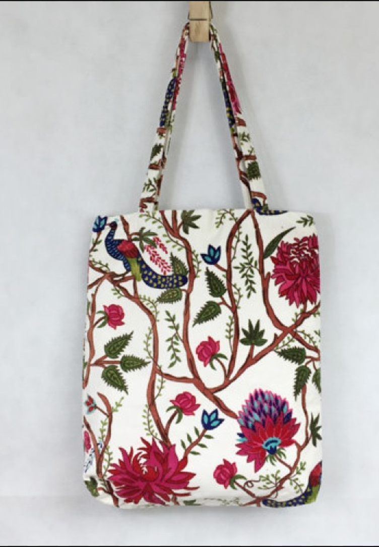 Bag - White Cotton Canvas with Peacock and Flowers