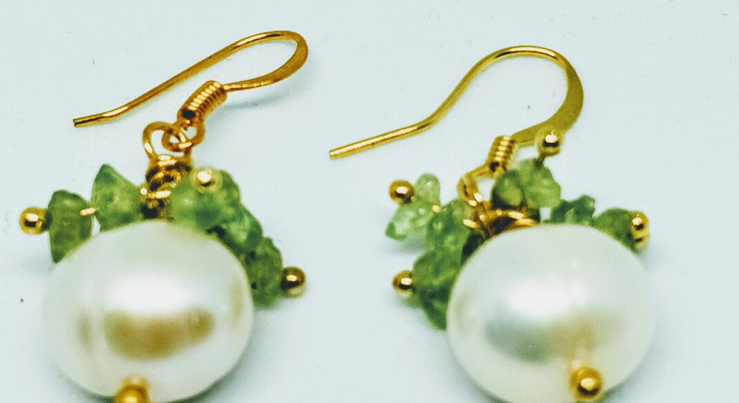 Peridot and Pearl Earrings