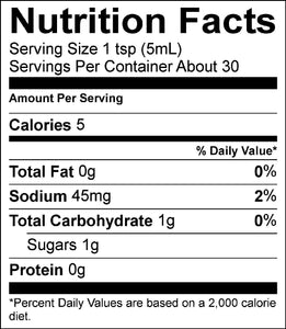 Nutrition Facts for Granddaddy's Hot Sauce
