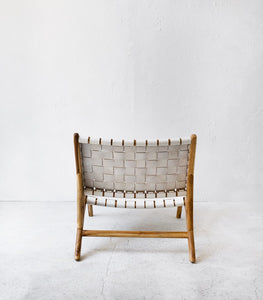 'Lo Rider' White Leather / Wood Lounging Chair